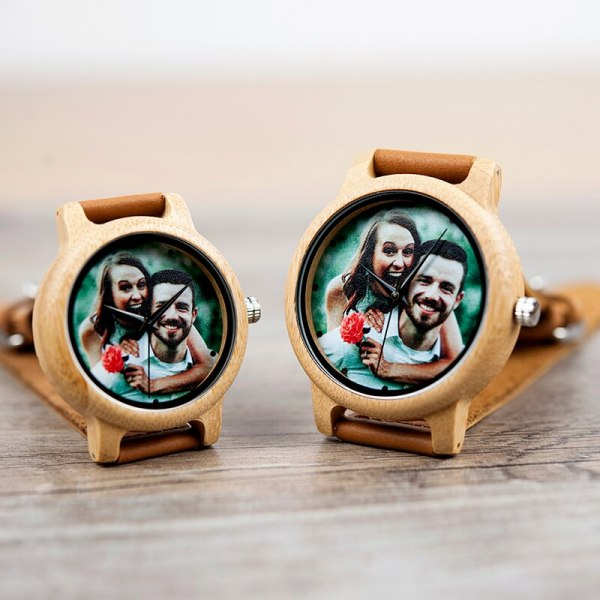 Creative Personality Lovers Watches UV Printing Photos Customers Bamboo Watch Customization Print OEM Great Gift for Love OEM 4