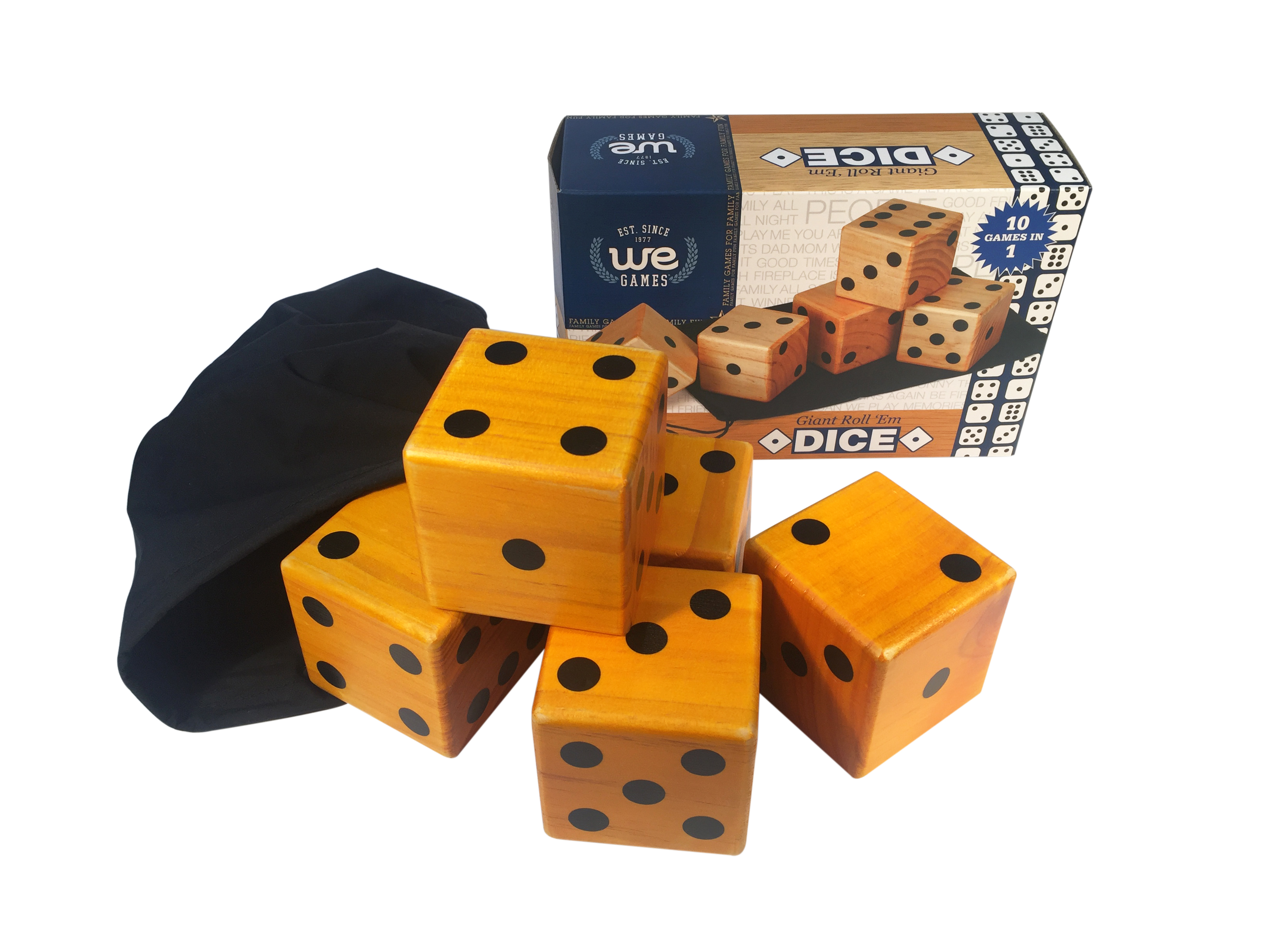 WE Games Giant Roll  em Dice     Set of 5 Wooden Lawn Dice     Wood         Dice