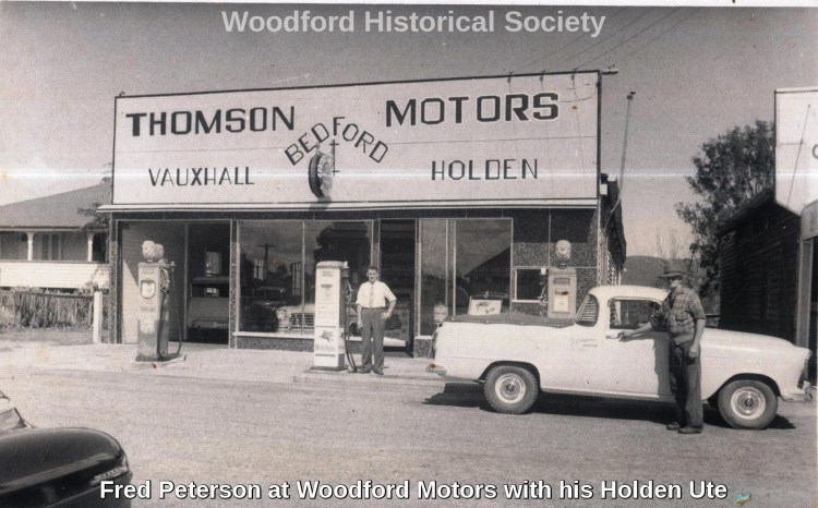 Fred Peterson at Woodford Motors with his Holden Ute