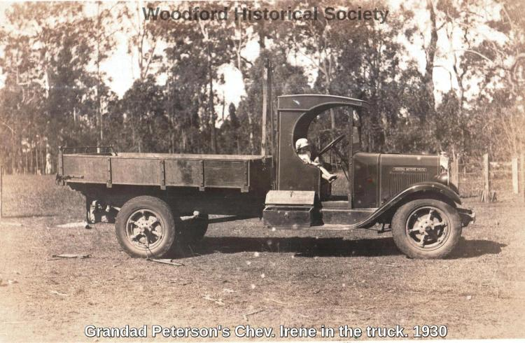Grandad Petersons Chev. Irene in the truck. 1930