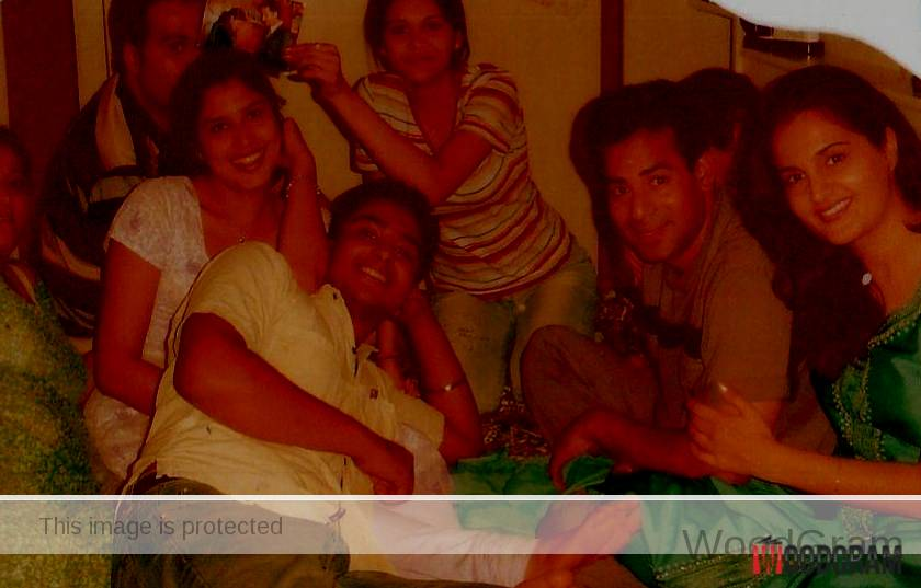Monica Bedi With Abu Salem And Friends In A Hotel Room
