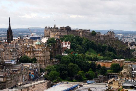 Edinburgh Castle viewed from the top of Lord Nelson Monument