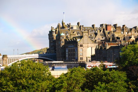 Edinburgh roof-line with rainbow