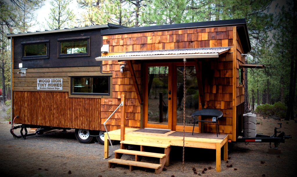 modern natural edge rustic industrial tiny home in forest