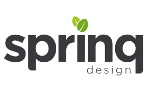Logo for company Spring Design with two green leaves used for the dot on the 'i' in spring.