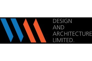 Logo for WM Architecture. Stylized letters for W and M on black background