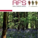 Front cover from Royal Forestry Society report on bringing woodland into management Jauary 2019. RFS logo and picture of bluebells in woodland