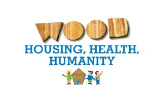 Words 'Wood' in wood effect text with words 'housing, health humanity' underneath in blue. Below that that cartoon people standing next to wooden house.