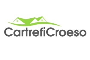 Logo for Cartrefi Croeso. Greeh roof line of house with curving hill line below.