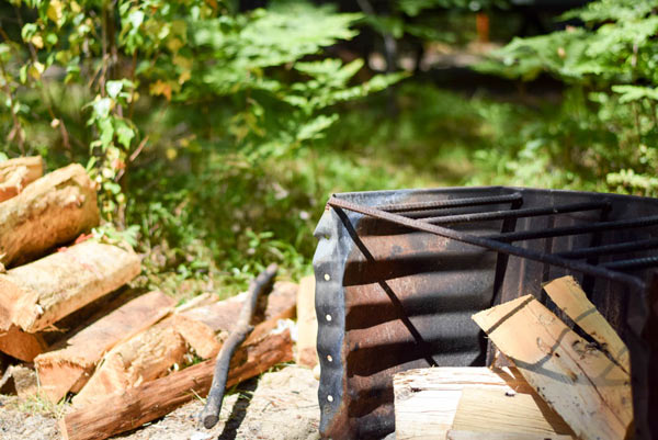 Maine campground with firepit