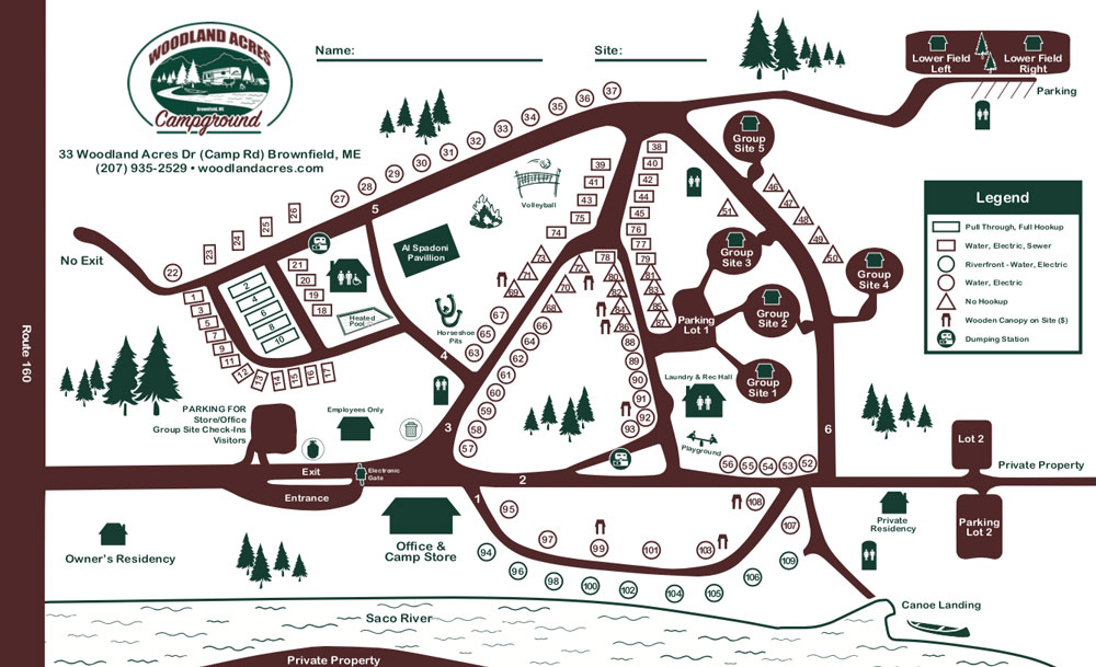Woodland Acres Campground Map   Maine Campground on a River on deschutes river canoe map, black river sc map, saco maine, androscoggin river new hampshire map, mid coast maine map, clinton river canoe map, sugar river canoe map, ausable river canoe map, susquehanna river map, blackwater river canoe map, mass coastal railroad map, st. croix river canoe map,