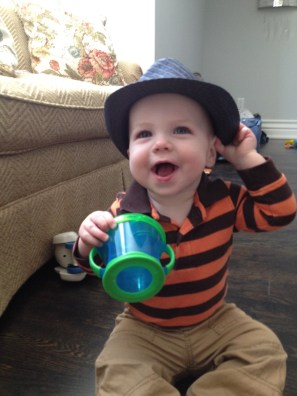 Trying out his new hat from Sara and the girls!