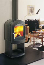 wood logs burning in wood stove
