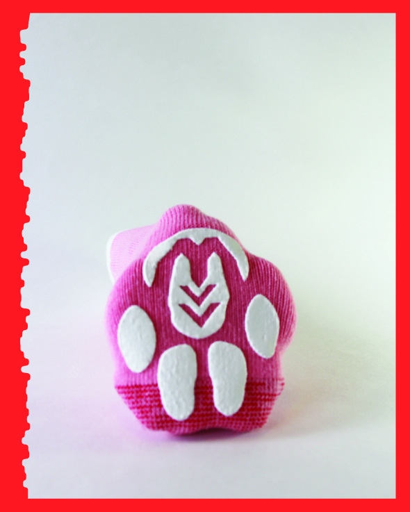 Pink with a bone, Advanced, bottom view.