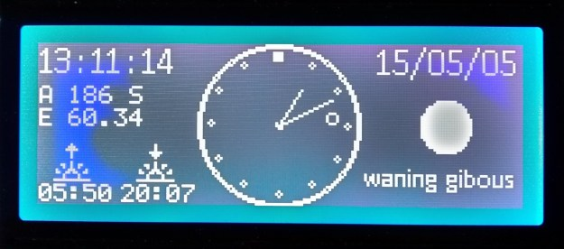 Analogue Clock with moon phase, sunset, sunrise and sun elevation and azimuth