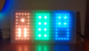"""Dice Clock showing """"domino"""" mode where hours, minutes and seconds are shown together"""