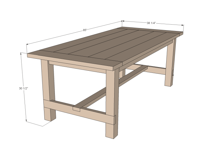 farmhouse table woodworking plans dimensions