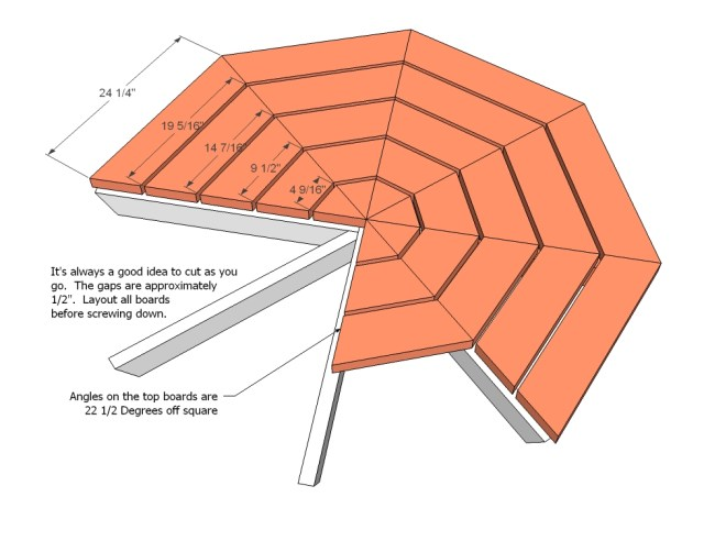 octagon picnic table woodworking plans step 04