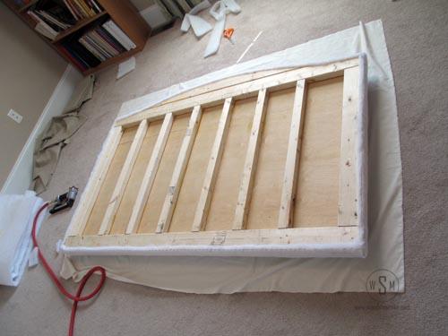 Upholstering Muslin to Headboard