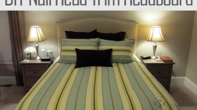 DIY Upholstered Linen Headboard With Nail Head Trim
