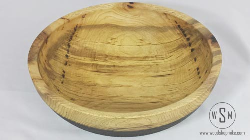 Hickory Bowl with Basket Weave Pyrography, Top