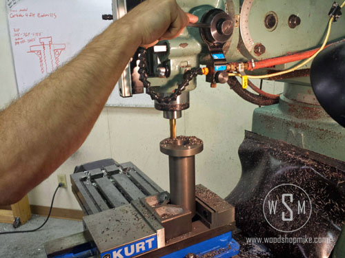 Counter Boring Quill Sleeve, Big Blue Home Made Wood Lathe
