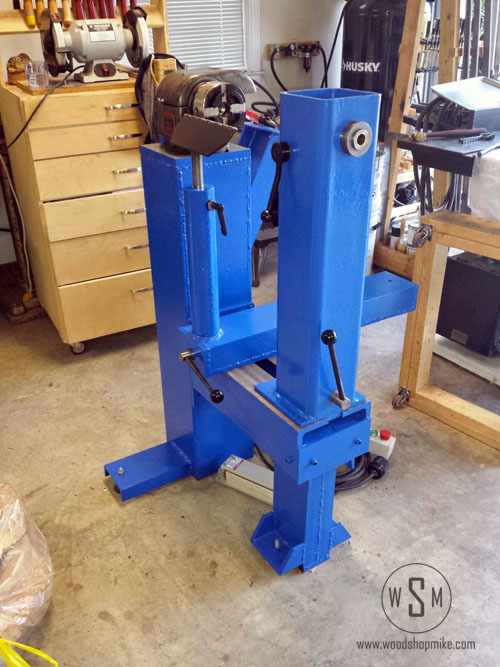 Fresh Paint, Big Blue Home Made Wood Lathe