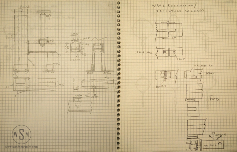 Lathe Bed Sketches, Big Blue-Home Made Wood Lathe