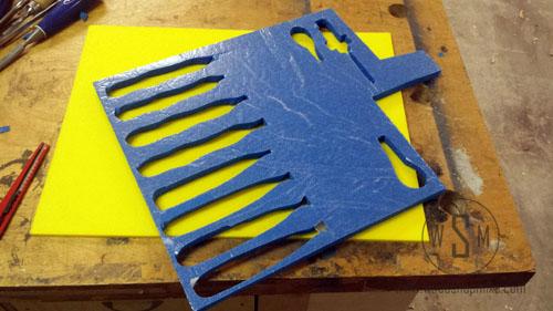 Stick Blue Tool Foam to Backer