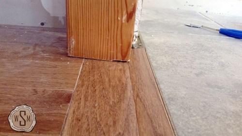 Install Custom Threshold 3, Master Bath Remodel, Flooring