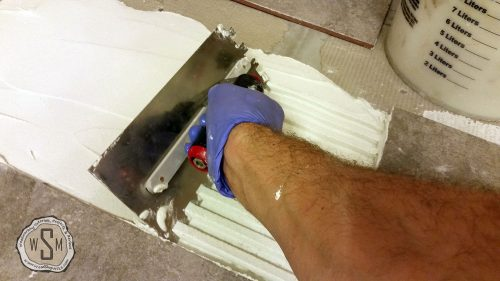 Notched Trowel In Use, Master Bath Remodel, Flooring
