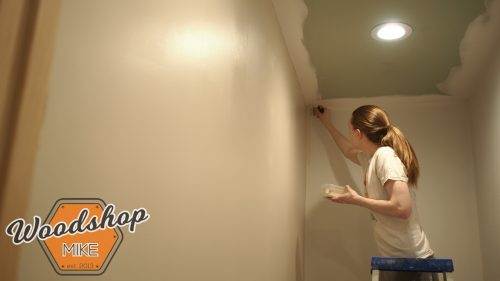 Wifey Painting Upstairs 2-building upstairs stairwell