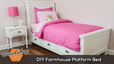 DIY Farmhouse Platform Bed with Storage