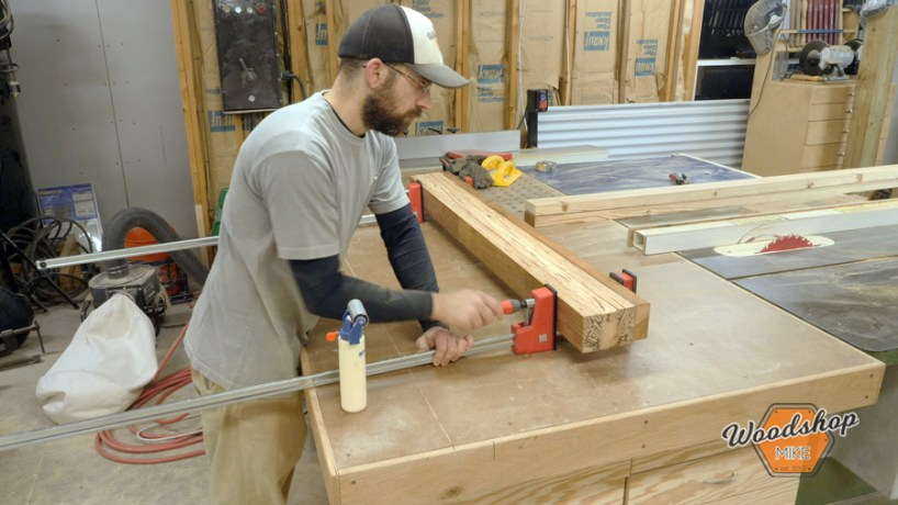 gluing boards, make this easy to build rustic bed