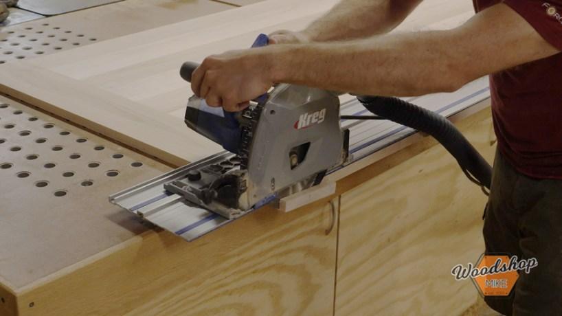 using track saw to trim breadboards