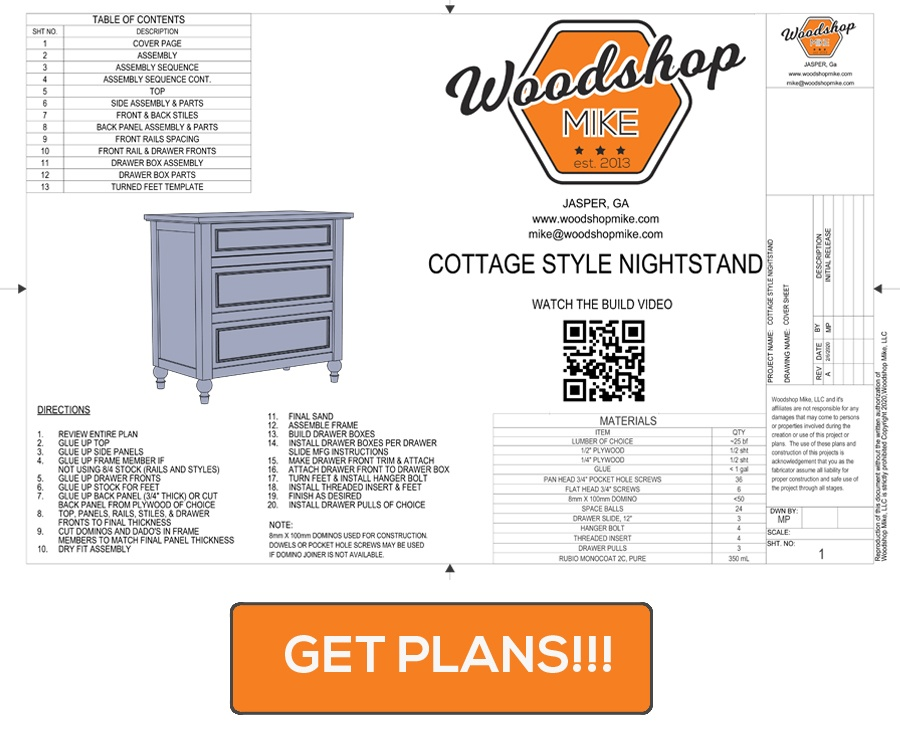 Cottage Style Nightstand Plans