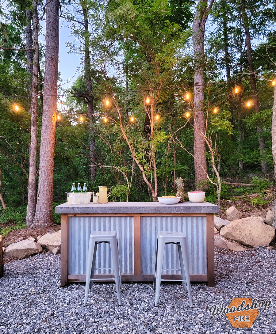 Concrete and wood outdoor bar