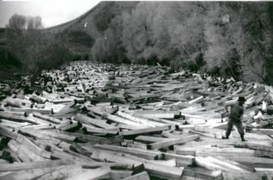Tie drive on the Big Laramie at Woods Landing, circa 1910