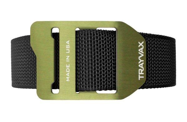 Trayvax Cinch EDC Carry Belt Black Webbing OD Green Buckle