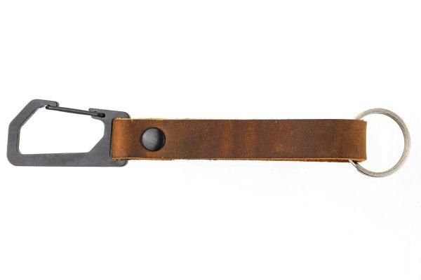 Trayvax Keyton Clip Carabiner Keychain Black and Tobacco Brown