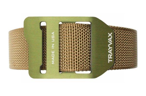Trayvax Cinch EDC Carry Belt Tan Webbing OD Green Buckle