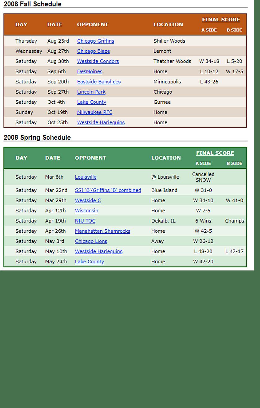 2008 Woodsmen Rugby Schedule