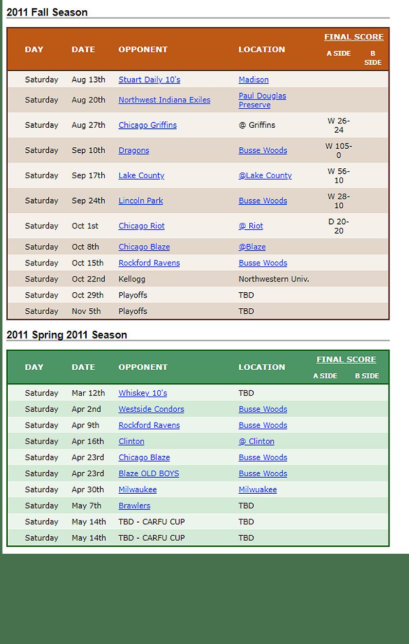 2011 Woodsmen Rugby Schedule