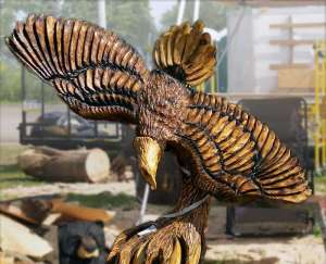 Power carve open chainsaw carving competition nys woodsmens field