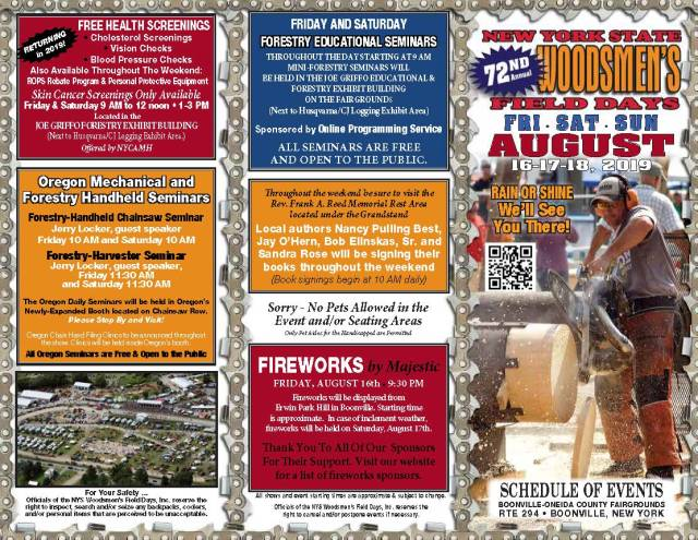 Downloadable Schedule - NYS Woodsmen's Field Days