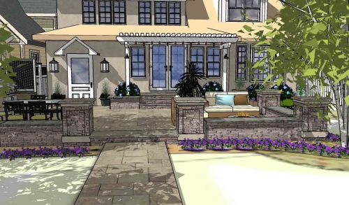 Front Yard Landscape Design 3D Example Rochester, NY