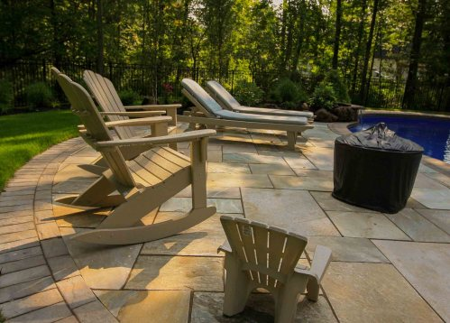 Inground pool installation project for Backyard in rochester NY. Has Flagstone patio, landscape plants