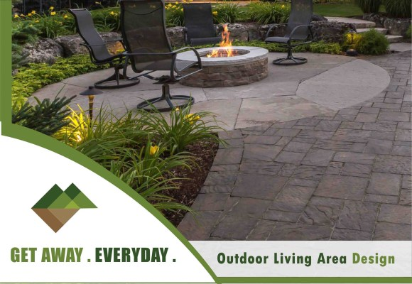 Backyard Landscaping Natural Stone & Firepit Example Rochester NY