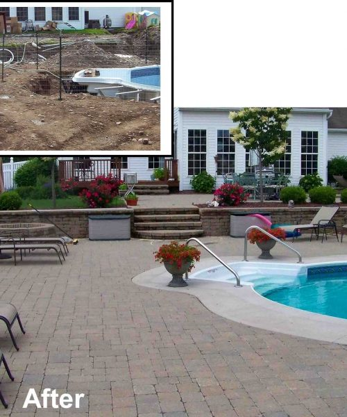 inground pool built on a slope using a retaining wall