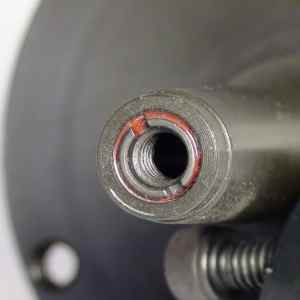 A closeup view of the threaded insert on the Elio-DR